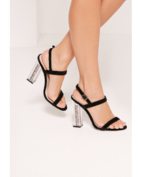 Missguided Glitter Perspex Heel Barely There Sandals Black