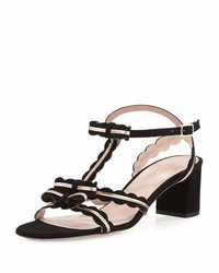 Kate Spade New York Medea Low Heel Suede Sandal With Bows Black