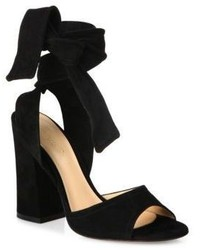 Gianvito Rossi Nika Suede Ankle Wrap Block Heel Sandals