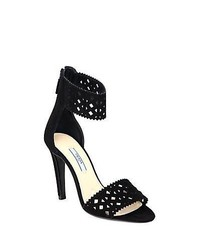 Prada Suede Cutout Sandals Nero Black