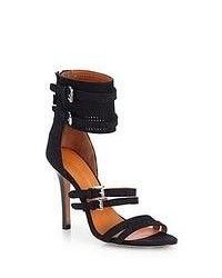 Rebecca Minkoff Miller Stingray Embossed Leather Suede Sandals Black