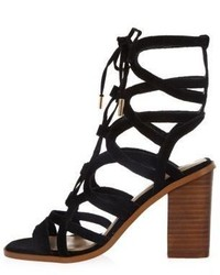 River Island Black Suede Lace Up Caged Block Heel Sandals