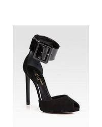 Saint Laurent Paris Suede Patent Leather Ankle Strap Pumps Black