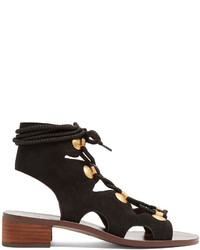 See by Chloe See By Chlo Lace Up Block Heel Suede Sandals