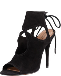 Aquazzura Sexy Thing Suede Cutout Sandal Black