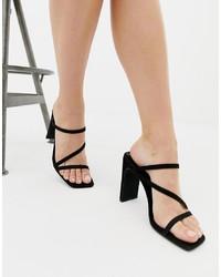 New Look Square Toe Sandal In Black