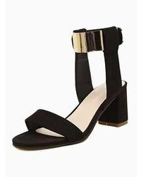 Choies Suede Block Heeled Sandals With Metallic Ankle Strap