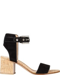 Gianvito Rossi Suede Cork Ankle Strap Sandals Black
