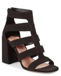 Prada Suede Gladiator Block Heel Sandals