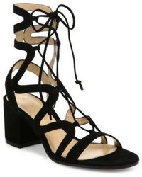 Gianvito Rossi Suede Lace Up Block Heel Sandals