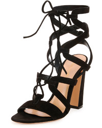 Gianvito Rossi Suede Lace Up Caged Sandal Black