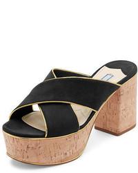 Prada Suede Platform Cork Heel Mule Sandal