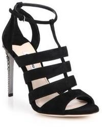 Miu Miu Swarovski Crystal Heel Suede Sandals