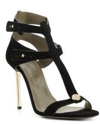 Versace Metallic Heel Suede Sandals