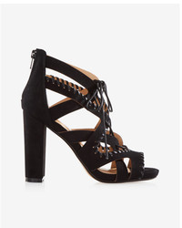 Express Whipstitch Lace Up Heeled Sandals