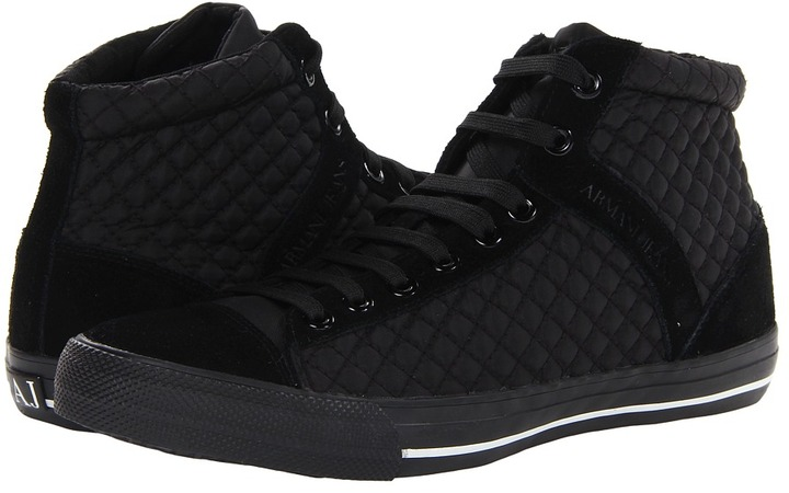 armani jeans armani jean quilted high top sneaker lace up caual shoe. Black Bedroom Furniture Sets. Home Design Ideas