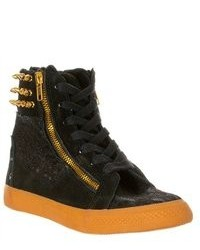 Betsey Johnson Nxtstep Suede High Top Sneakers Black Size 8