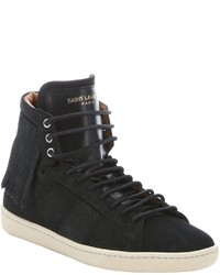 Saint Laurent Black Suede Fringed High Top Sneakers