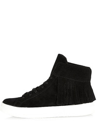 River Island Black Suede Tasselled High Top Sneakers