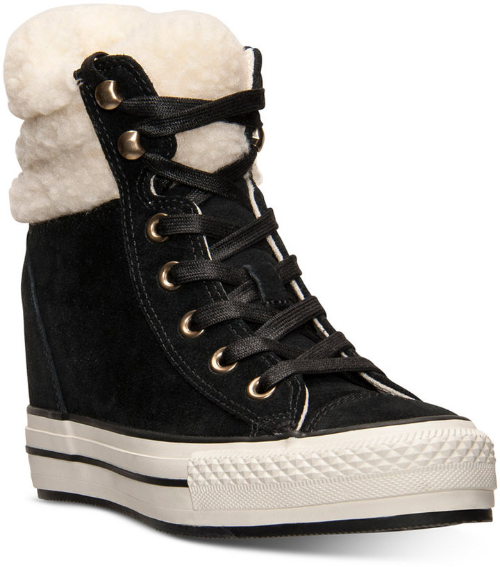 e0bc245c5697 ... Black Suede High Top Sneakers Converse Chuck Taylor All Star Platform  Plus Hi Suede Casual Sneakers From Finish Line ...