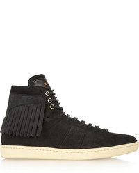 Saint Laurent Fringed Suede High Top Sneakers