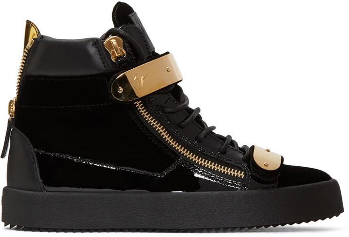 ... Giuseppe Zanotti Giuseppe Zanotti Black Velvet London High-Top Sneakers