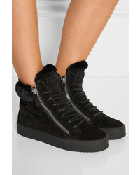 bdcb1399d22c1e ... Giuseppe Zanotti May London Shearling Lined Suede High Top Sneakers  Black ...