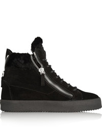 Giuseppe Zanotti May London Shearling Lined Suede High Top Sneakers Black