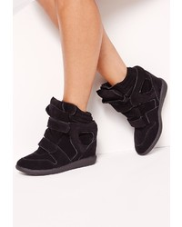 Missguided Wedge Velcro Strap High Top Trainers Black