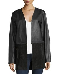J Brand Emory Open Front Zip Off Leather Suede Jacket