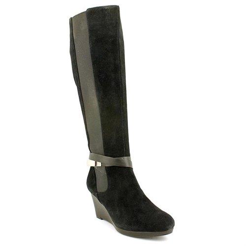 black suede knee high boots calvin klein lucia black