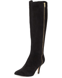 Neiman Marcus Katie Suede Zip Knee Boot Black