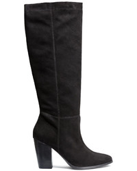 H&M Knee High Suede Boots Black Ladies