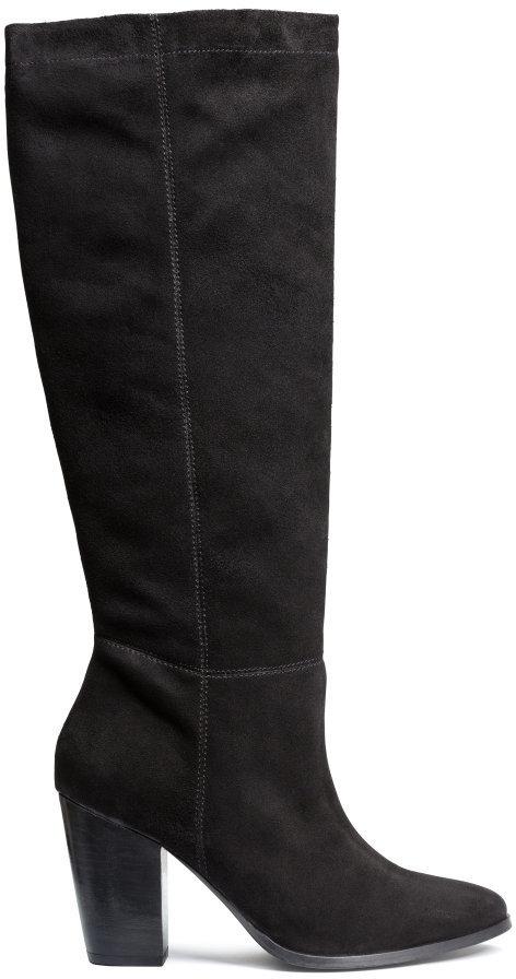 H\u0026M Knee High Suede Boots Black Ladies