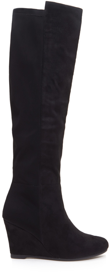 sale check out sale Forever 21 Knee High Wedge Boots, $44 | Forever 21 | Lookastic.com