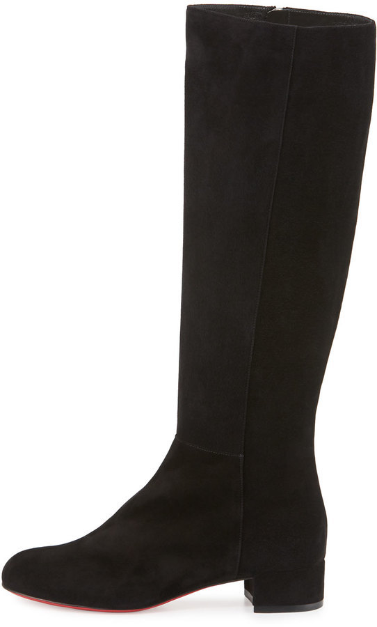0233b70b3ef6 Christian Louboutin Lili Suede 30mm Red Sole Knee Boot Black