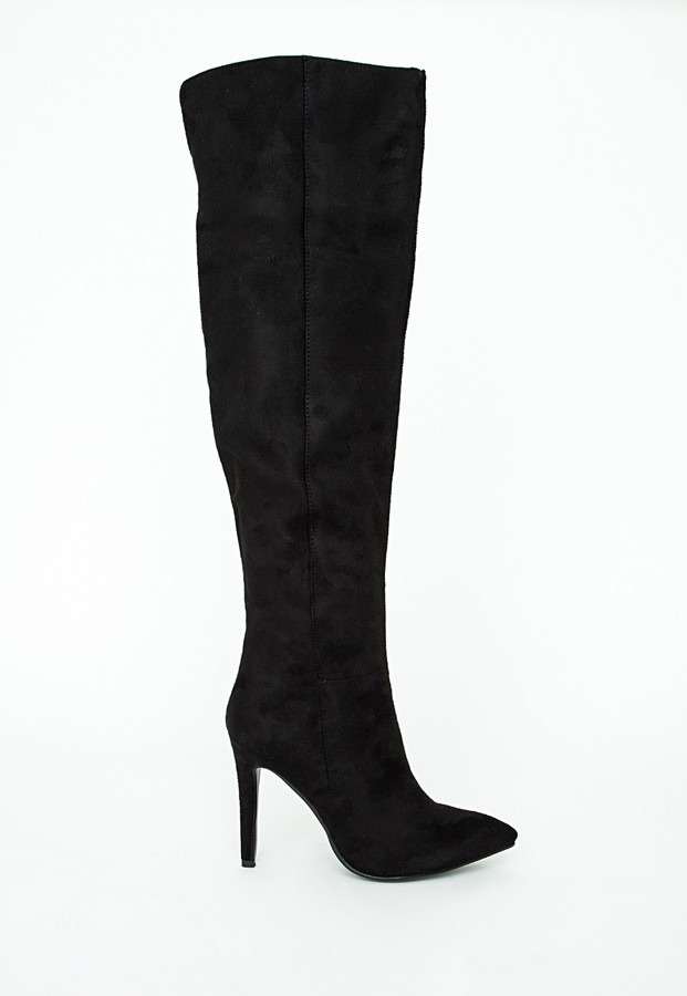 Missguided Kate Faux Suede Knee High Heeled Boots Black | Where to ...