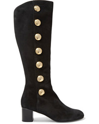 Chloé Orlando Studded Suede Knee Boots Black