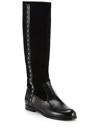 Alexander McQueen Studded Leather Suede Knee High Boots