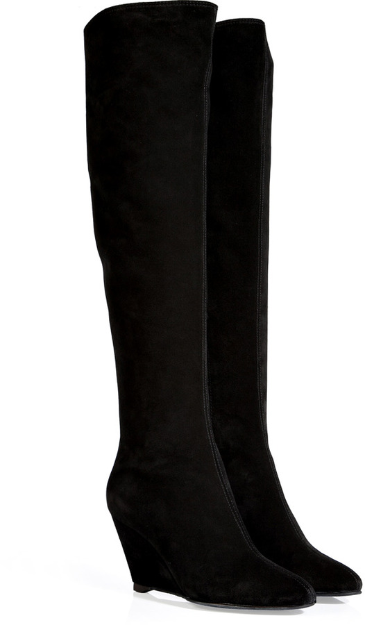 Giuseppe Zanotti Suede Knee High Wedge Boots | Where to buy & how ...