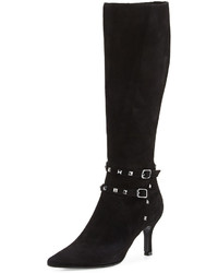 Neiman Marcus Zoel Suede Knee Boot Black