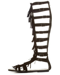 Charlotte Russe Knee High Fringe Gladiator Sandals