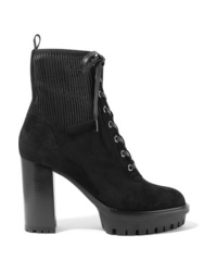 Gianvito Rossi 100 Lace Up Ribbed Ed Suede Ankle Boots