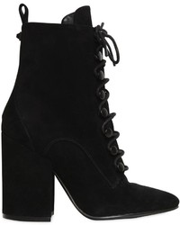 100mm Bridget Suede Lace Up Ankle Boots