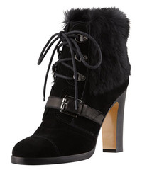 Grandly Suede Rabbit Fur Lace Up Boot Black