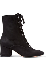 Gianvito Rossi Lace Up Suede Ankle Boots Black