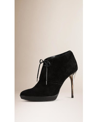Burberry Lace Up Suede Ankle Boots