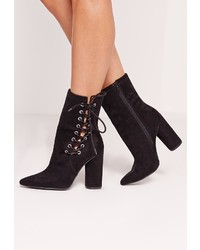 Missguided Eyelet Lace Up Heeled Ankle Boot Black