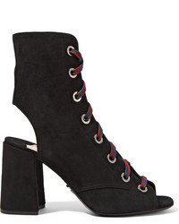 Prada Lace Up Suede Ankle Boots Black