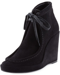 Balenciaga Suede Lace Front Wedge Bootie